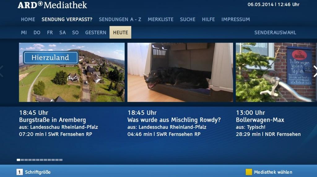 Screenshot der ARD-Mediathek im HbbTV-Angebot