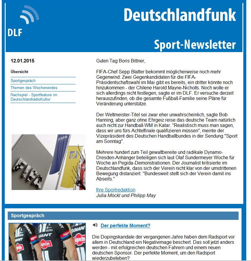 Sport Newsletter Screenshot