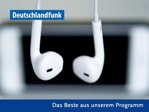 """Ein Podcastlogoentwurf mit weißen Kopfhörern und em DLF-Logo sowie dem Titel """"Das Beste aus unserem Programm"""""""
